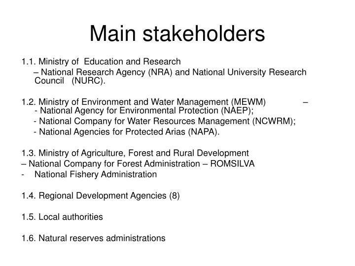 Main stakeholders