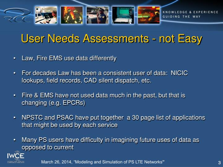 User needs assessments not easy