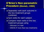 o brien s non parametric procedure biomet 1984