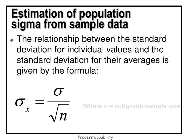 Estimation of population sigma from sample data