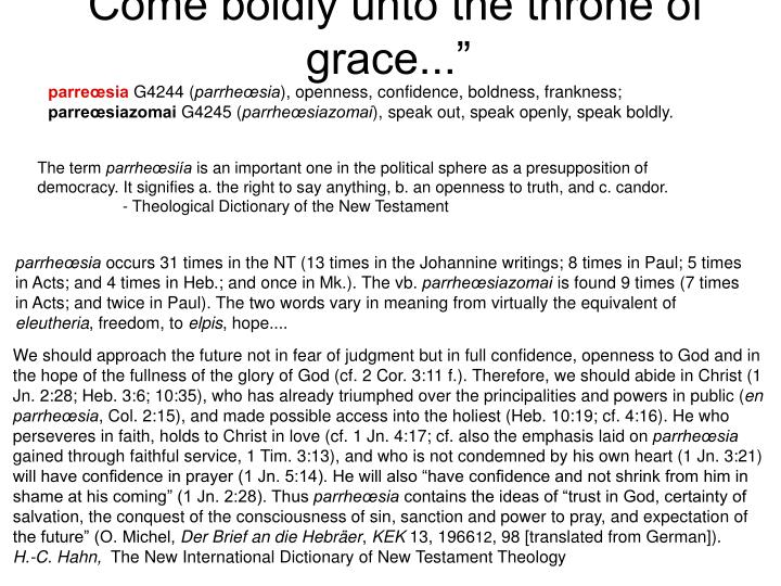 """""""Come boldly unto the throne of grace..."""""""
