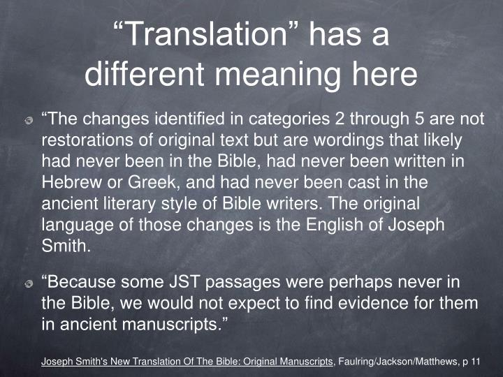 """""""Translation"""" has a different meaning here"""