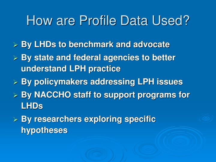 How are Profile Data Used?