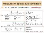 measures of spatial autocorrelation