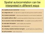 spatial autocorrelation can be interpreted in different ways