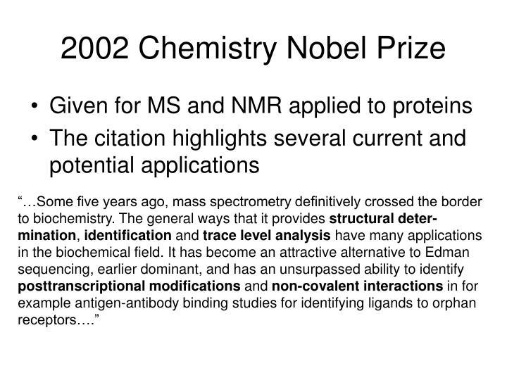 2002 Chemistry Nobel Prize