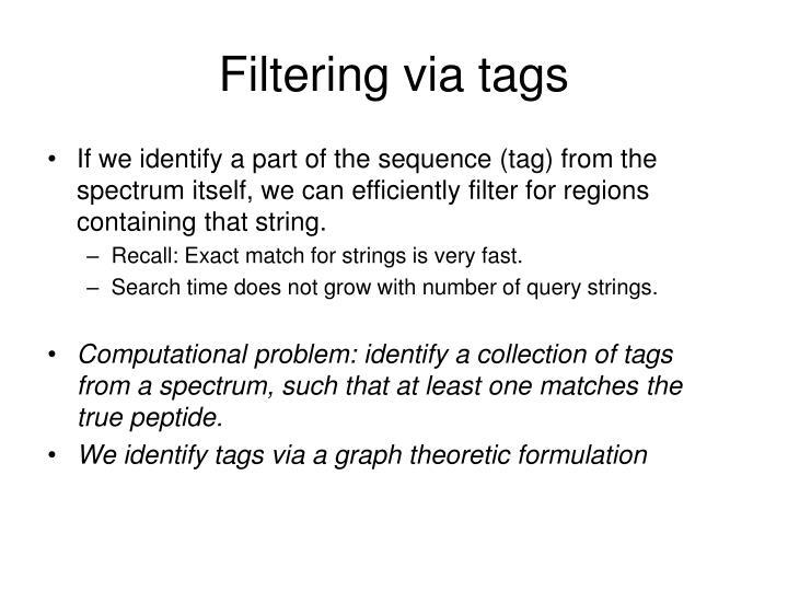 Filtering via tags