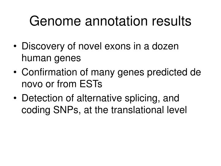 Genome annotation results