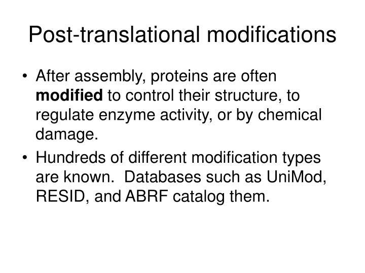 Post-translational modifications