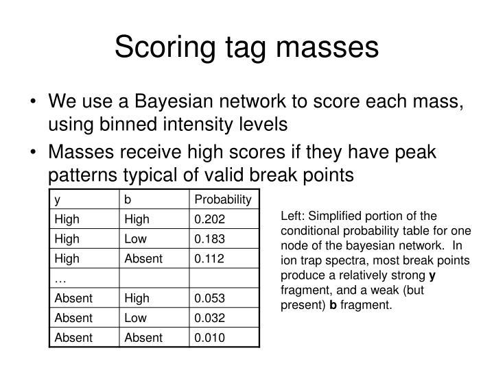 Scoring tag masses