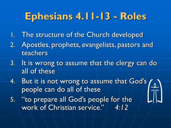 Ephesians 4.11-13 - Roles