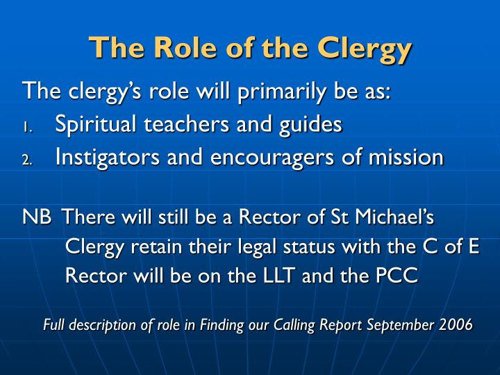 The Role of the Clergy