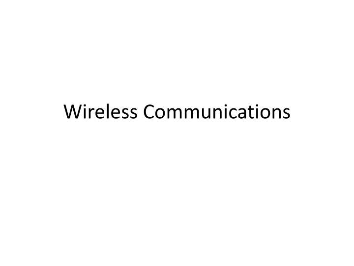 wireless communications n.