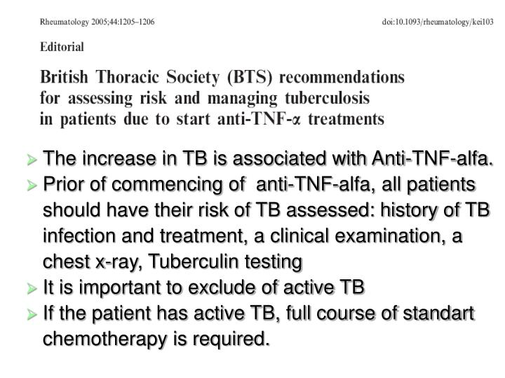 The increase in TB is associated with Anti-TNF-alfa.