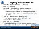 aligning resources to ap
