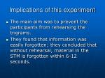 implications of this experiment
