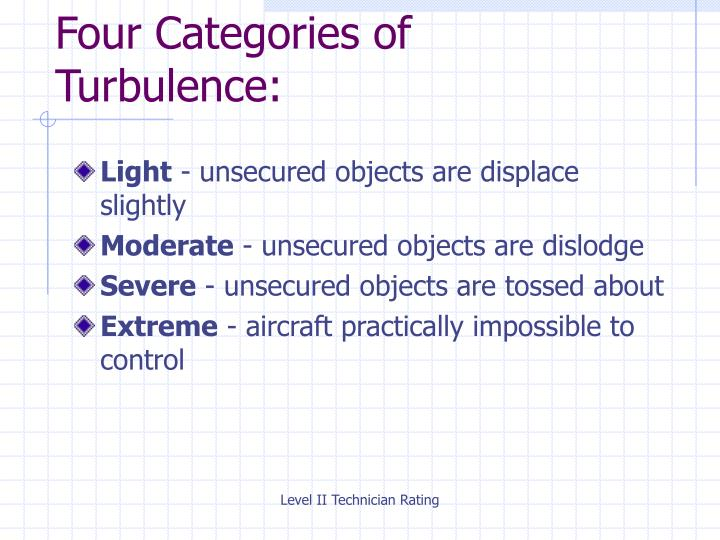 Four Categories of                     Turbulence:
