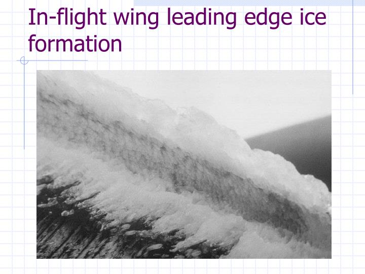 In-flight wing leading edge ice formation