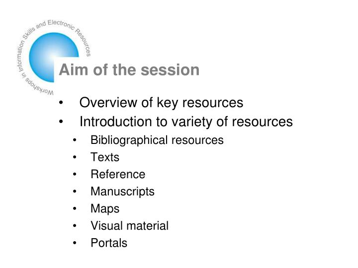 Aim of the session