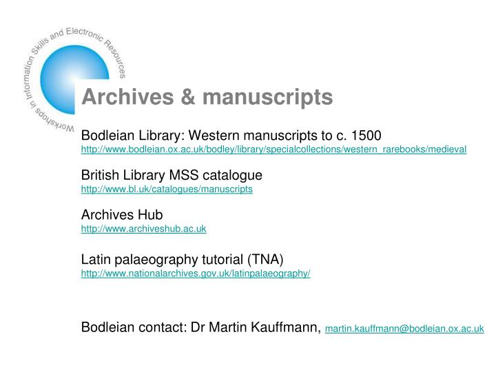 Archives & manuscripts