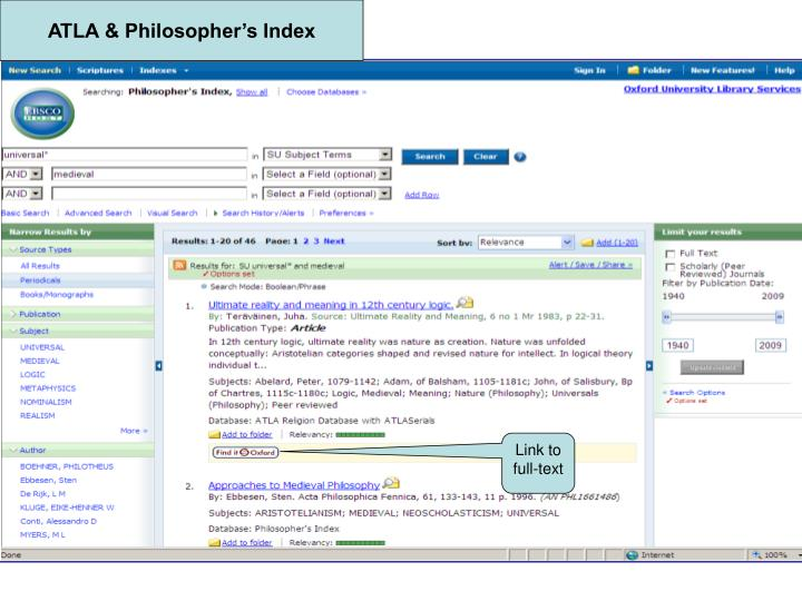 ATLA & Philosopher's Index