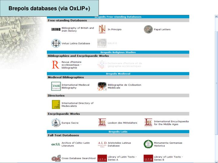 Brepols databases (via OxLIP+)