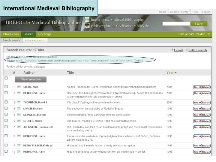 International Medieval Bibliography