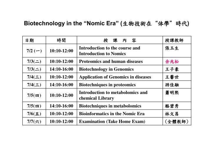 "Biotechnology in the ""Nomic Era"" ("