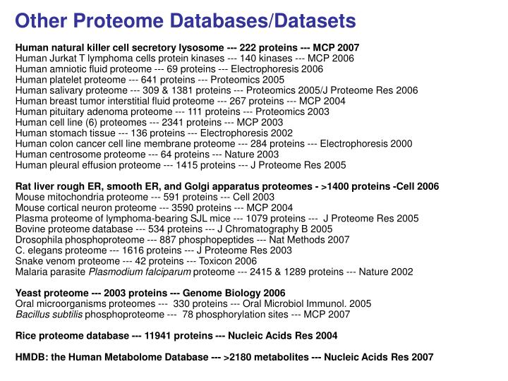 Other Proteome Databases/Datasets