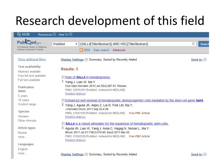 Research development of this field