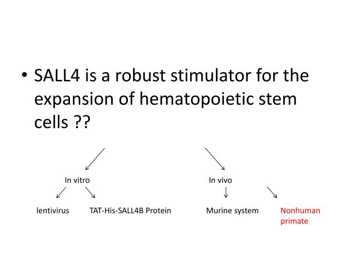 SALL4 is a robust stimulator for the expansion of hematopoietic stem cells ??