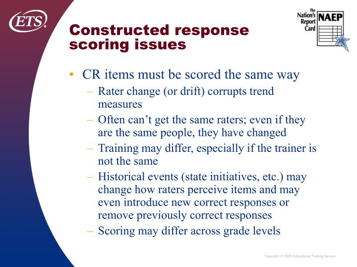 Constructed response scoring issues