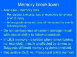 memory breakdown
