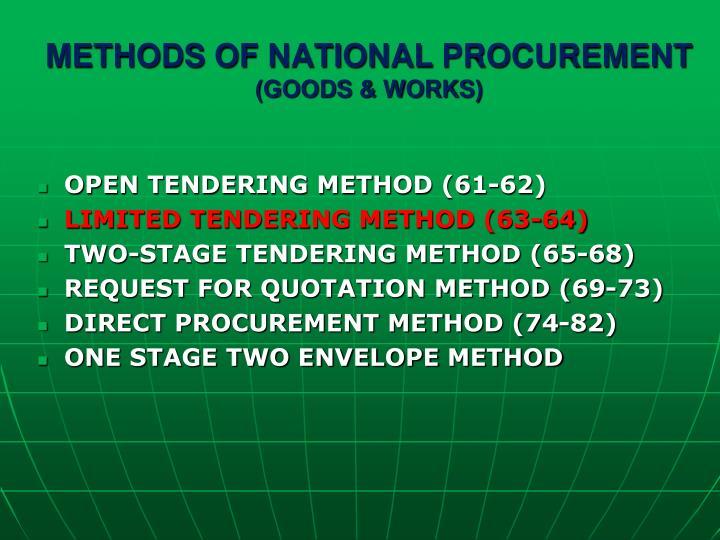 Methods of national procurement goods works