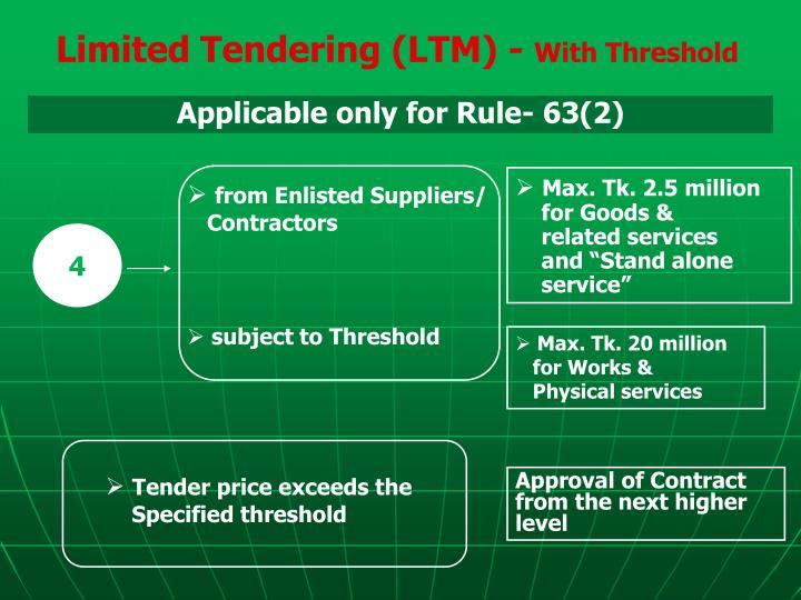 Limited Tendering (LTM) -