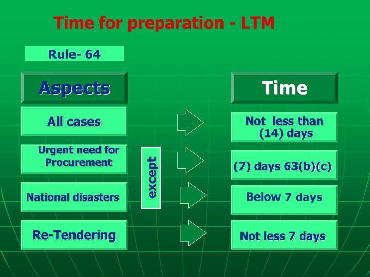 Time for preparation - LTM