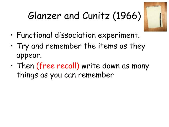 Glanzer and Cunitz (1966)
