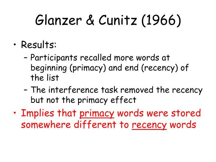 Glanzer & Cunitz (1966)