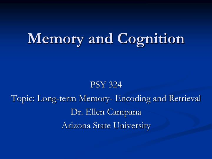 memory and cognition n.