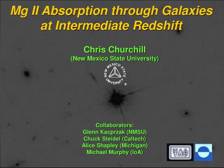 mg ii absorption through galaxies at intermediate redshift n.