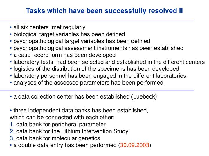 Tasks which have been successfully resolved II