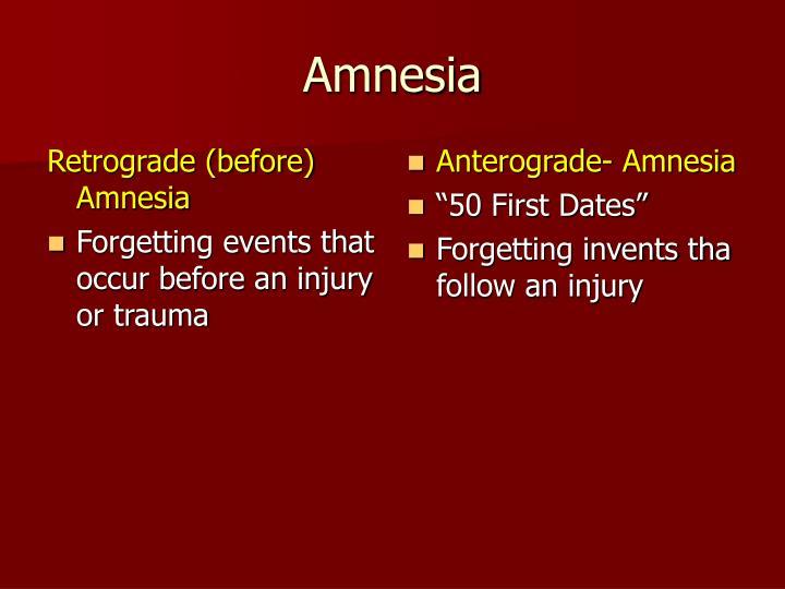 Retrograde (before) Amnesia