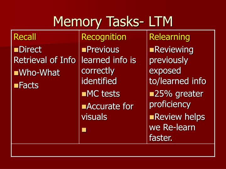 Memory Tasks- LTM