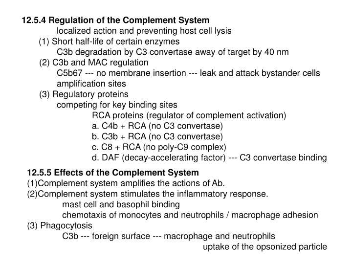 12.5.4 Regulation of the Complement System
