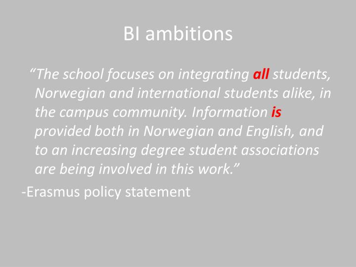 BI ambitions