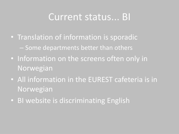 Current status... BI