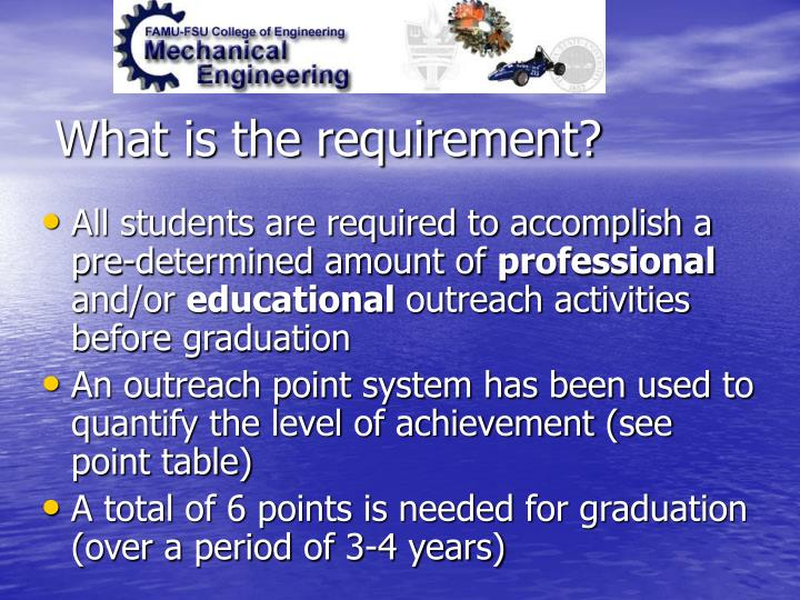 What is the requirement?