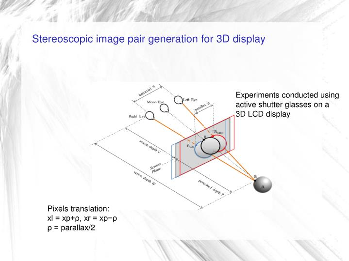 Stereoscopic image pair generation for 3D display