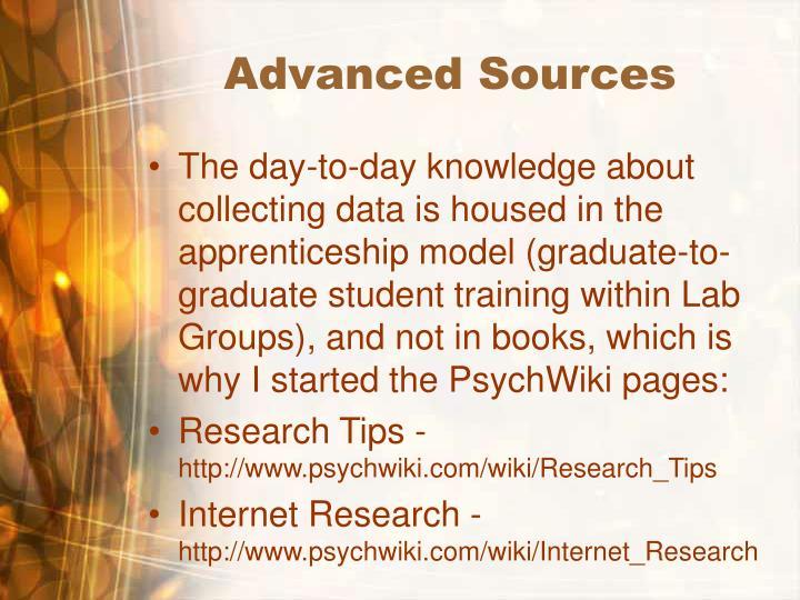 Advanced Sources