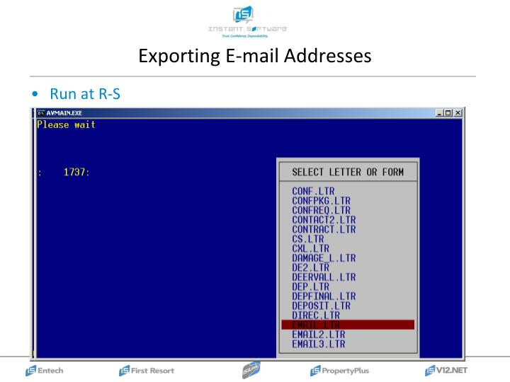 Exporting E-mail Addresses